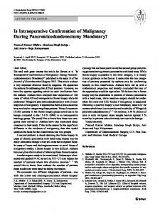 Is Intraoperative Confirmation of Malignancy During ... - Springer Link
