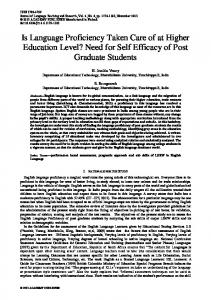 Is Language Proficiency Taken Care of at Higher Education Level ...