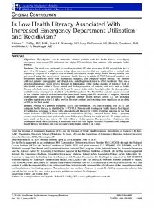 Is Low Health Literacy Associated With ... - Wiley Online Library