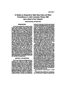 Is Obesity as Measured by Body Mass Index and Waist Circumference ...