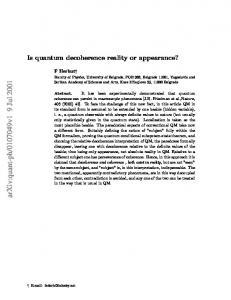 Is quantum decoherence reality or appearance?