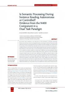 Is Semantic Processing During Sentence Reading