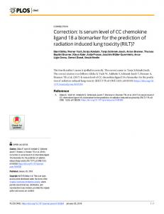 Is serum level of CC chemokine ligand 18 a biomarker for the ... - PLOS
