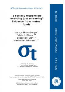 Is socially responsible investing just screening? Evidence from mutual ...