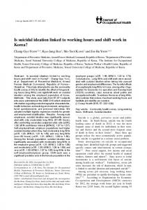 Is suicidal ideation linked to working hours and shift work in Korea?