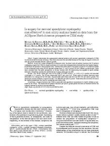 Is surgery for cervical spondylotic myelopathy cost ...