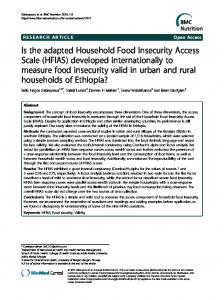 Is the adapted Household Food Insecurity Access Scale (HFIAS ...