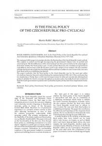 IS THE FISCAL POLICY OF THE CZECH REPUBLIC PRO-CYCLICAL?