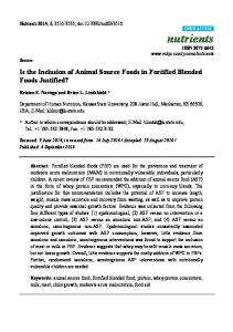 Is the Inclusion of Animal Source Foods in Fortified ... - BioMedSearch
