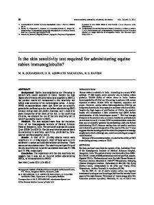 Is the skin sensitivity test required for administering equine rabies ...