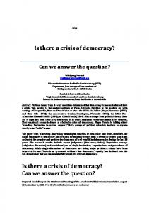 Is there a crisis of democracy? - Democracy Barometer