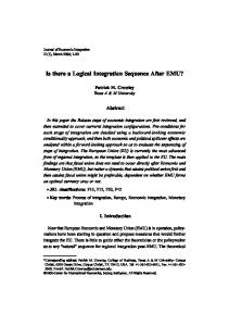 Is there a Logical Integration Sequence After EMU? - Journal of ...
