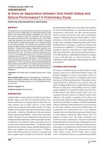 Is there an Association between Oral Health Status and ... - CiteSeerX