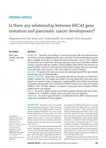 Is there any relationship between BRCA1 gene mutation and ...