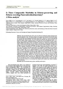 Is There Comparable Morbidity in Pylorus-preserving ... - Springer Link