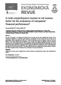 Is total comprehensive income or net income better for ...