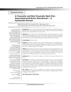 Is Traumatic and Non-Traumatic Neck Pain
