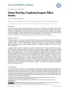 Ischemic Renal Injury Complicating Intragastric Balloon Insertion