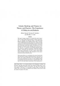 Islamic Banking and Finance - Islamic Research Priorities on ...