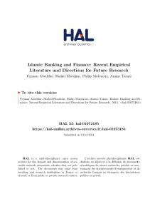 Islamic Banking and Finance: Recent Empirical Literature and - Hal-SHS