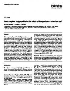 Islet amyloid polypeptide in the islets of Langerhans - Springer Link