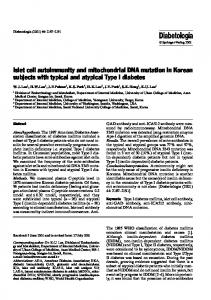 Islet cell autoimmunity and mitochondrial DNA mutation in Korean