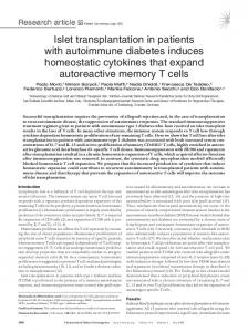 Islet transplantation in patients with autoimmune diabetes induces ...