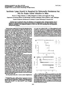Isocitrate Lyase (AceA) Is Required for ... - Infection and Immunity