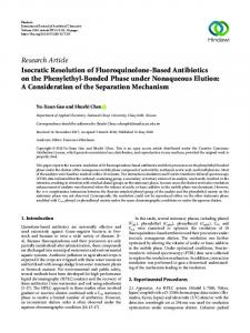 Isocratic Resolution of Fluoroquinolone-Based Antibiotics on the ...