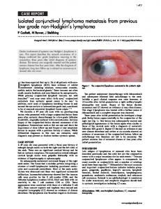 Isolated conjunctival lymphoma metastasis from previous low ... - NCBI