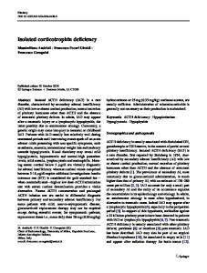 Isolated corticotrophin deficiency - CiteSeerX