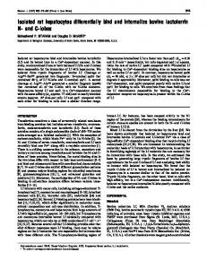 Isolated rat hepatocytes differentially bind and internalize bovine ...