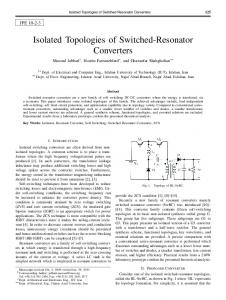 Isolated Topologies of Switched-Resonator Converters