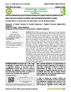 ISOLATION AND AFFINITY PURIFICATION OF PEROXIDASE FROM