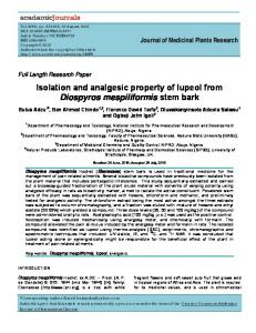 Isolation and analgesic property of lupeol from ... - Academic Journals