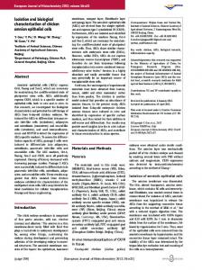 Isolation and biological characterization of chicken ... - BioMedSearch