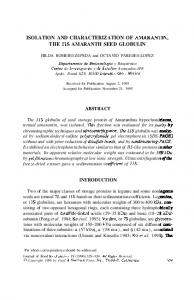 ISOLATION AND CHARACTERIZATION OF ...