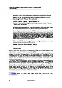 Isolation and Characterization of a Heterotrophic Bacterium Able to ...