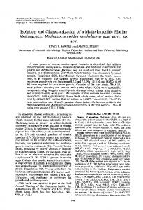 Isolation and Characterization of a Methylotrophic Marine Methanogen ...