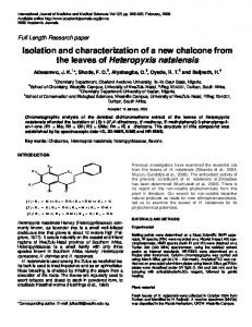 Isolation and characterization of a new chalcone from the ... - CiteSeerX