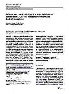 Isolation and characterization of a novel Dehalobacter species strain ...