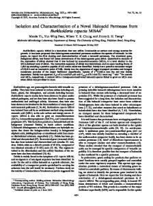Isolation and Characterization of a Novel Haloacid Permease from ...