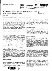 Isolation and characterization of a temperate ...