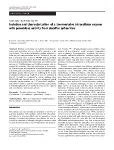 Isolation and characterization of a thermostable ... - Springer Link