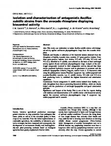 Isolation and characterization of antagonistic Bacillus