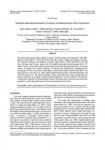 Isolation and characterization of arsenic resistant