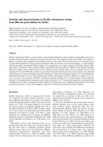 Isolation and characterization of Bacillus thuringiensis strains from ...