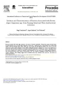 Isolation and Characterization of Bacteria Associated with Brown ...