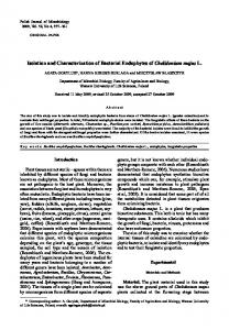 Isolation and Characterization of Bacterial Endophytes of Chelidonium ...