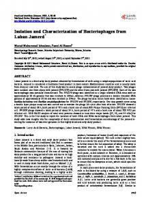 Isolation and Characterization of Bacteriophages